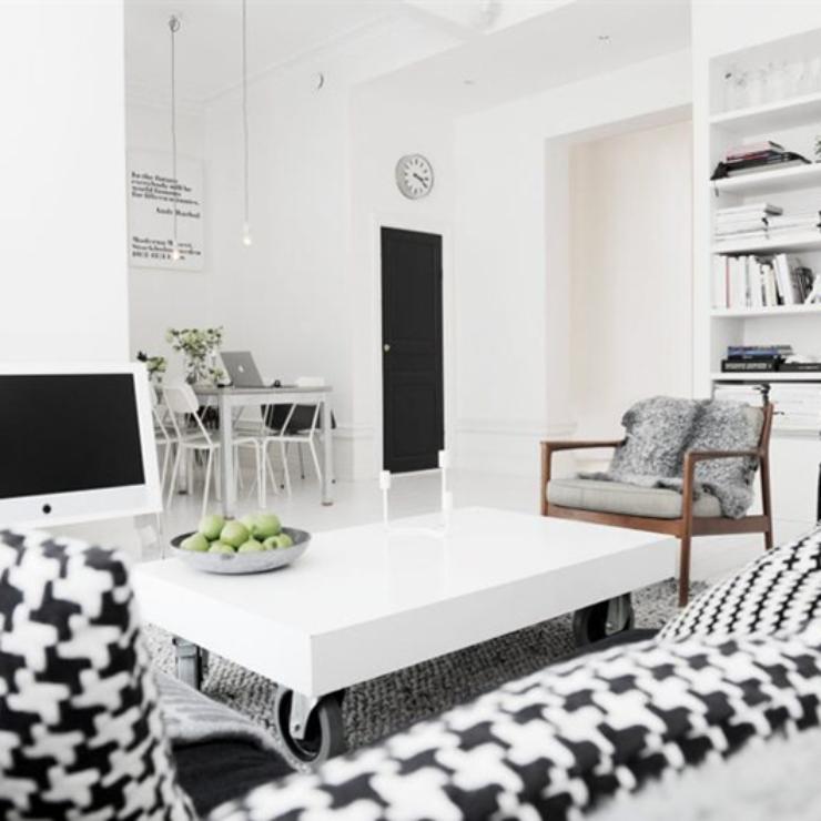 Apartamento em preto e branco no blog Detalhes Magicos